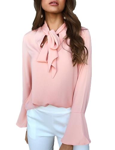 Moda mujer Casual camisa Blusa V cuello manga larga manga vendaje atar sólido Elegante suelta Tops
