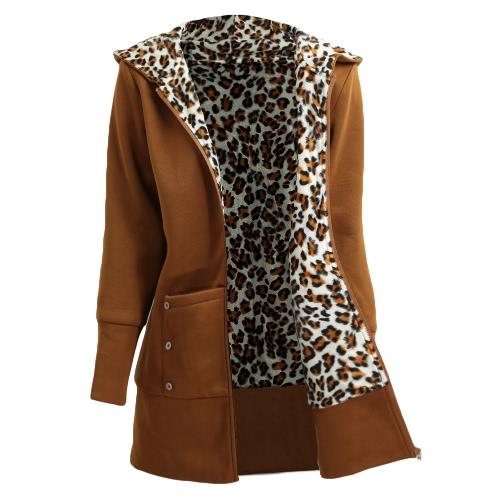 Invierno Mujer Hoodies Coat Leopardo forro forro Zipper caliente abrigo casual con capucha