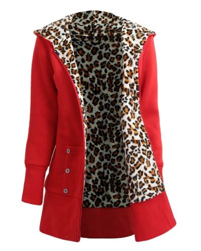Winter Women Hoodies Coat Leopard Fleece Lining Zipper Warm Casual Hooded Outerwear