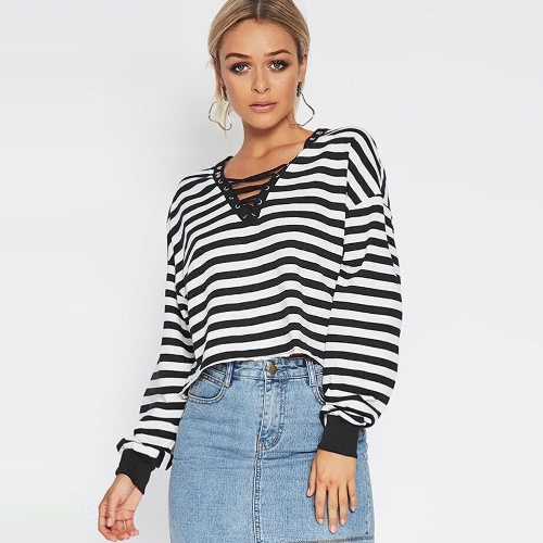 Women Cropped Striped T-Shirt Long Sleeves Lace Up V Neck Dropped Shoulder Casual Loose Tees Tops Black