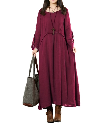 Vintage Women Plus Size Loose Dress Solid Roll Up 3/4 mangas O-Neck Casual Maxi Dresses Dark Blue / Burgundy