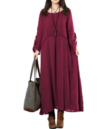 Vintage Women Plus Rozmiar Luźna Sukienka Solid Roll Up 3/4 Rękaje O-Neck Casual Suknie Maxi Dark Blue / Burgundy