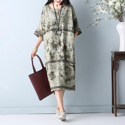 Plus Size Damen Baumwoll Leinen Kleid Stickerei O-Neck Half Sleeve Pockets Retro Loose Midi Kleid Rot / Grün