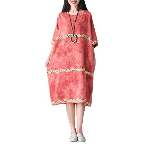 Más tamaño de las mujeres de algodón vestido de lino bordado O-cuello medio bolsillos de la manga retro suelta vestido de algodón rojo / verde