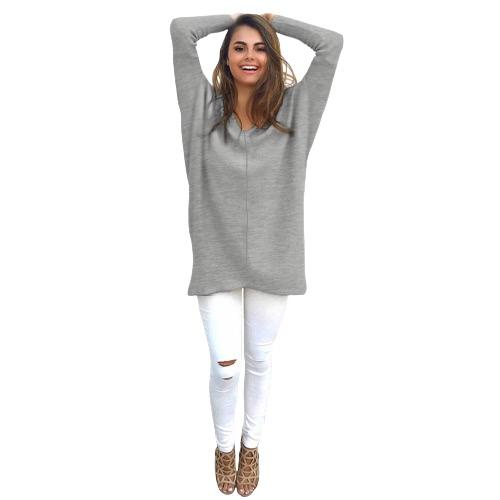 Femmes Automne Hiver Sweat V-Neck Loose Tricoté Surdimensionné Sweat Baggy Pulls Robes Robe Plus Size Outerwear