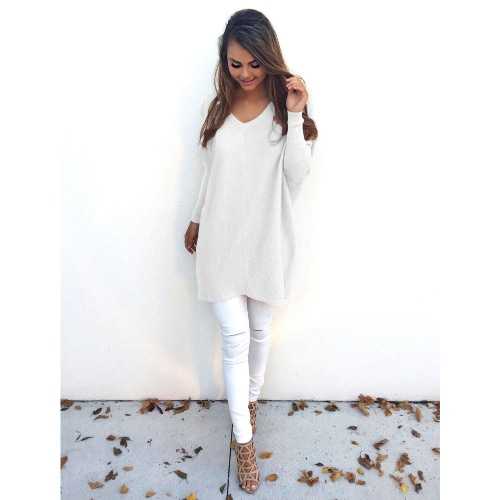 Women Autumn Winter Sweater V-Neck Loose Knitted Oversized Baggy Sweater Jumper Tops Dress Plus Size Outerwear