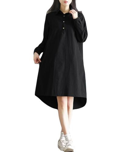 Fashion Plus Size Maxi Cotton Dress Turn-down Collar Button Olá Low Hem mangas compridas Robe Loose Dress Verde / preto