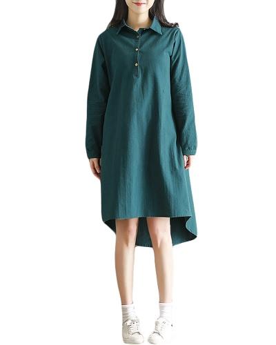 Moda más tamaño Maxi vestido de algodón Turn-Down Collar botón Hola baja Hem largo mangas Robe suelta vestido verde / negro