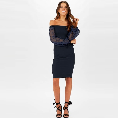 Women Sexy Off Shoulder Dress Long Sleeves Backless Knee Length Casual Party Dress White/Dark Blue