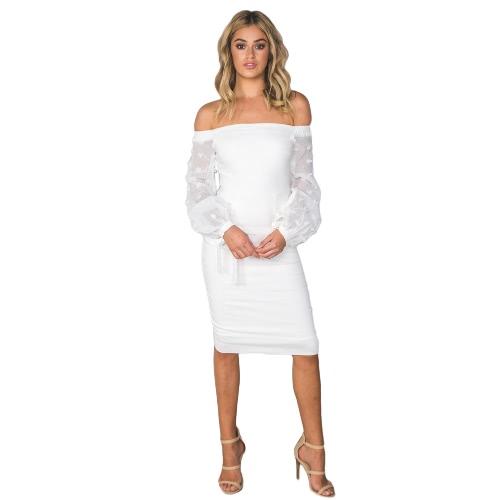 Mujeres Sexy vestido de hombro de manga larga sin espalda longitud de la rodilla vestido de fiesta casual blanco / azul oscuro