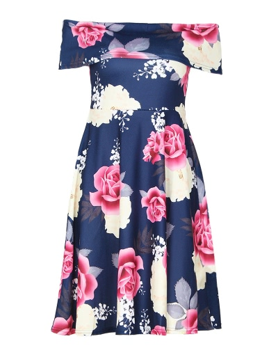 Las mujeres florales del hombro vestido Slash cuello manga corta A-línea vintage elegante vestido de fiesta casual