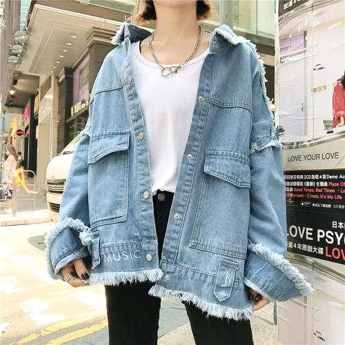 Bordado Outono Mulheres jaqueta de ganga camisola de manga comprida manga comprida feminina Casacos Casacos ocasionais azul / azul escuro