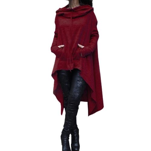 Maglie manica corta con cappuccio donna con cappuccio con maniche lunghe Asimmetriche Pullover Casual Felpa