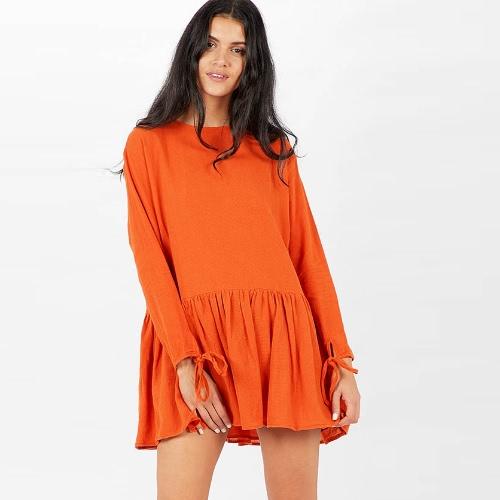 Outono Mulheres Mini Vestido Solid Long Sleeve Bandage Ruffled Hem Casual Loose Dress Khaki / White / Orange