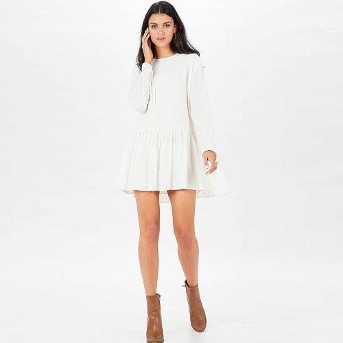 Otoño Mujer Mini vestido de manga larga sólido vendaje Ruffled Hem Casual suelta vestido de color caqui / blanco / naranja