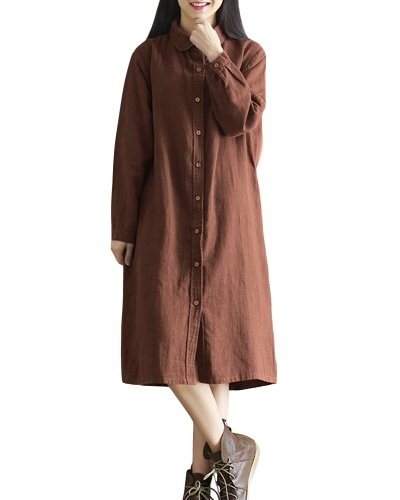 Vestido de algodón retro de algodón de la camisa de algodón de vuelta-Abajo de la camisa de manga larga