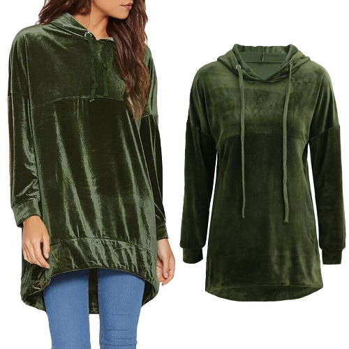 Fashion Women Velvet Hoodie Sweatshirts Drawstring Long Sleeve Casual Solid Warm Pullover Hooded Tops Green