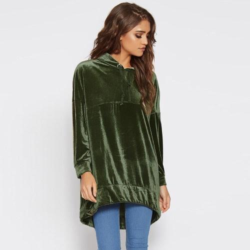 Mode Frauen Samt Hoodie Sweatshirts Drawstring Langarm Casual Solid Warm Pullover Kapuzenoberteile Grün