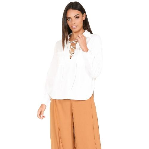 Mujeres atractivas más la blusa del tamaño Satén sólido atan para arriba el vendaje Bolsillos delanteros tapas flojas de la manga larga blancas / negras