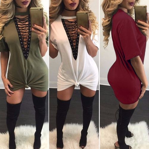 TOMTOP / Mulheres Lace Up Mini Dress Hollow Out Plunge V Manga Curta Long T-Shirt Plus Size Casual Dress Vestidos