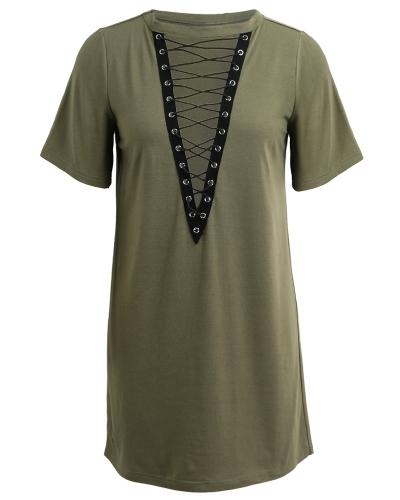 Las mujeres ata con cordones mini vestido ahuecado hacia fuera Plunge V mangas cortas camiseta larga más el tamaño del vestido informal Vestidos