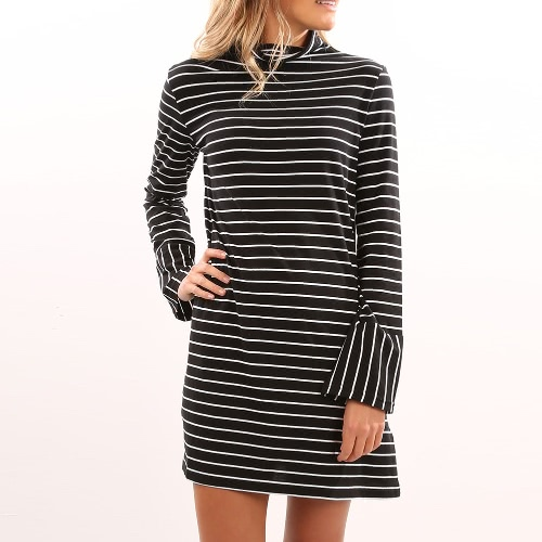 New Women Stripe Dress Turtleneck Long Sleeve Casual Ołówek Mini Sukienka Czarna