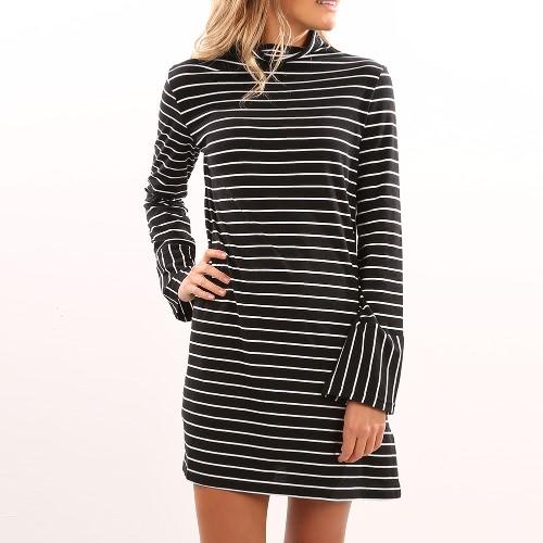 New Women Stripe Vestido Turtleneck manga comprida casual lápis mini vestido preto
