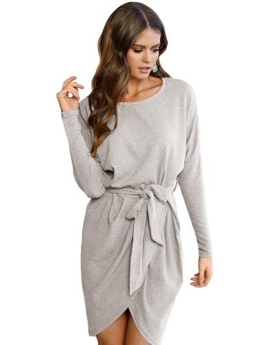 Nuevo vestido de las mujeres de la manera Wraparound lazo delantero de la cintura cuello redondo de manga larga Party Clubwear Mini vestido