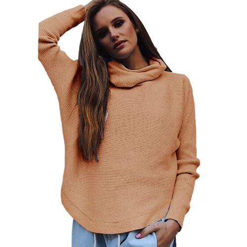 Moda de invierno de las mujeres suéter de punto de la tortuga de cuello largo mangas cosidas de punto pulóver Tops