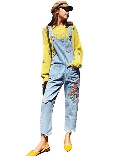Mujeres Denim Jumpsuits Floral Bordado Frayed Ripped Holes Trajes de vestir sueltos Long Jeans Playsuit Rompers Light Blue