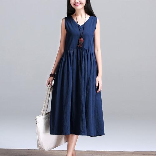 Nuevas mujeres de la vendimia de algodón cuello de l cuello sin mangas vestido suelto cintura de la cintura relajado cami tanque vestido azul oscuro / blanco