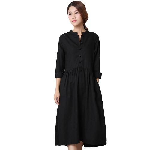 Art- und Weisefrauen-Baumwollbettwäsche-Midi-Kleid-vorderer Knopf-langes Hülsen-asymetrisches Saum-festes unregelmäßiges Kleid Schwarzes / Weiß