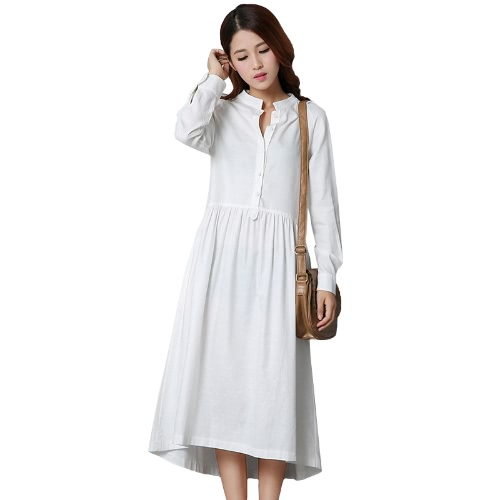 Moda Mujer Algodón Lino Vestido Mediano Frente Botón Manga Larga Asimétrica Hem Solid Irregular Vestido Negro / Blanco