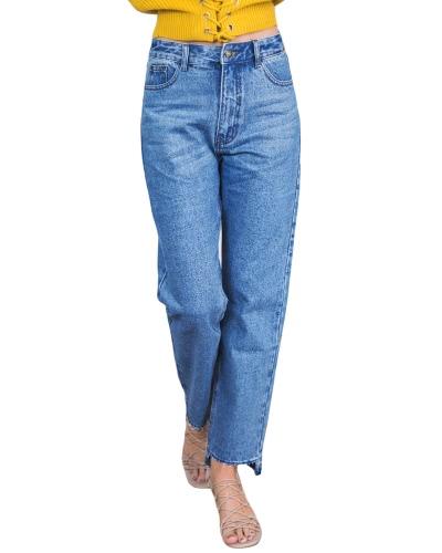 Nuevas mujeres de la vendimia mediados de los pantalones vaqueros de la manga del dril de algodón de la cintura Asymmetric Cuffs Washed Straight Boyfriend Jeans Blue