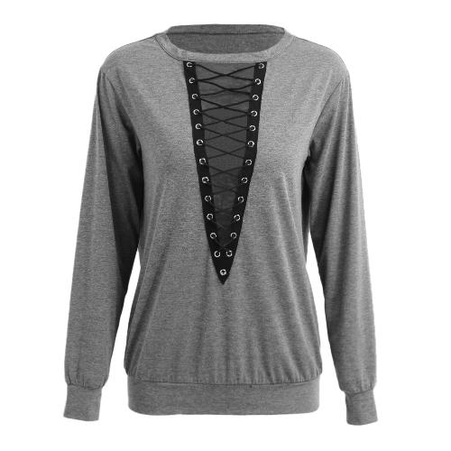 Nueva moda mujer blusa Tops encaje hasta vendaje manga larga V cuello camisas casual sólido jersey negro / borgoña / gris