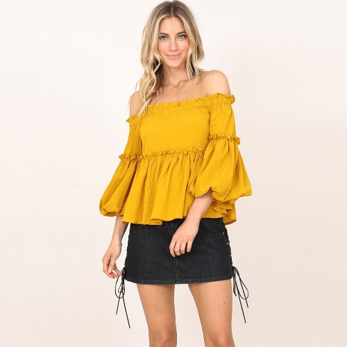 New Autumn Retro Women Off the Shoulder Ruffles Top Solid Color Beach Party Blusa Amarelo