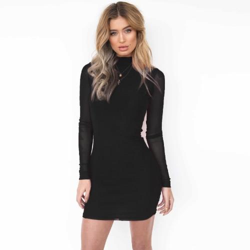 Sexy Women Bodycon Mini Dress Sheer Mesh Sleeves Turtleneck Back Zipper Bandage Party Dress