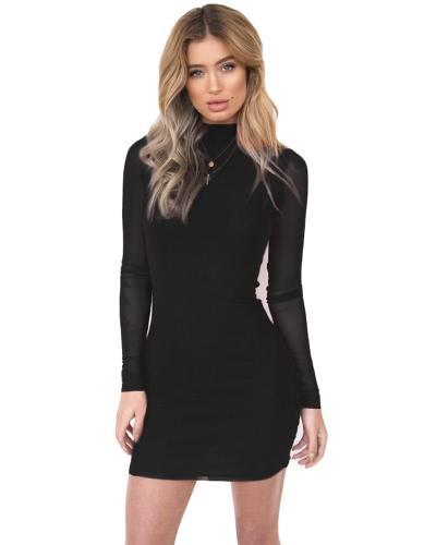 Damskie bodybons Mini sukienka Sheer Mesh Sleeves Turtleneck Z powrotem Zipper Bandage Party Dress