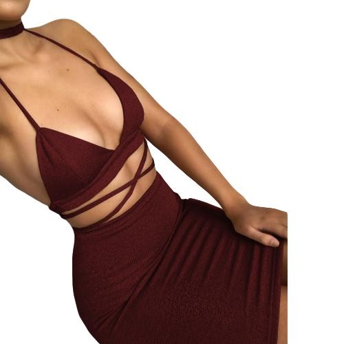 Mujeres Sexy Cami Set de dos piezas Halter Strap Crop Top vendaje Bralette Bodycon Midi falda Set Party Nightclub Outfit