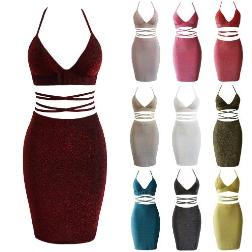 Sexy Women Cami Two Piece Set Halter Strap Crop Top Bandage Bralette Bodycon Midi Skirt Set Party Nightclub Outfit