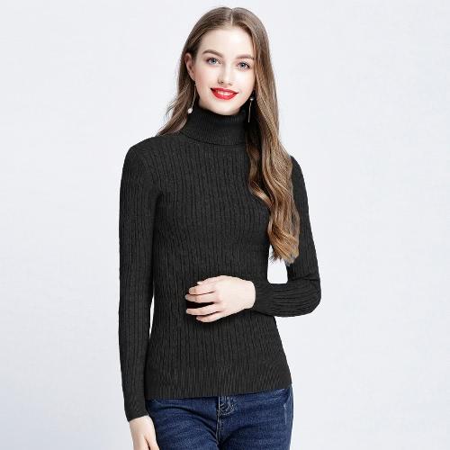 Nuevas mujeres Twist hecho punto suéter sólido de cuello alto de manga larga Slim Thickening pullover punto de punto de punto