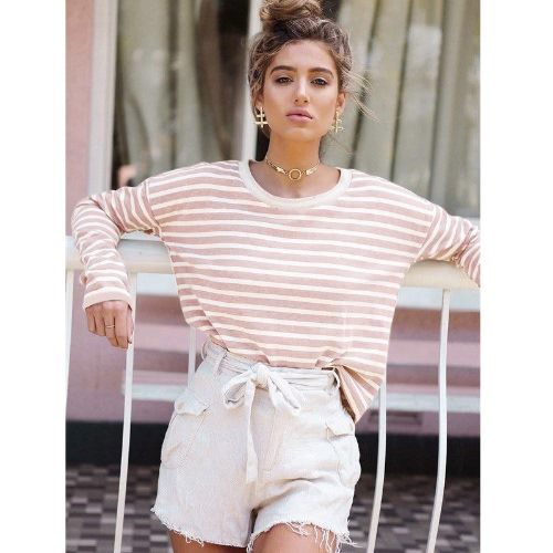 Mujeres Camiseta Contraste Striped Drop Hombro Ribbed Ronda Cuello Largo Casual Tops Rosa