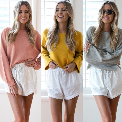 Women Hoodies Sweatshirt Solid O-Neck Long Sleeve T-Shirt Casual Tracksuit Pullover Top Pink/Grey/Yellow