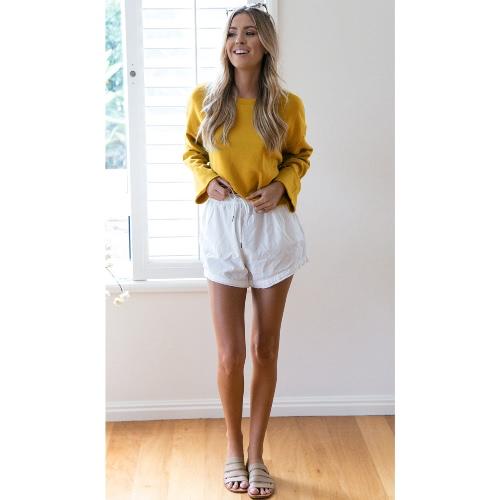Sudadera con capucha de las mujeres Sólido O-Cuello Camiseta de manga larga Chaqueta de prendas de vestir de chándal informal Rosa / Gris / Amarillo