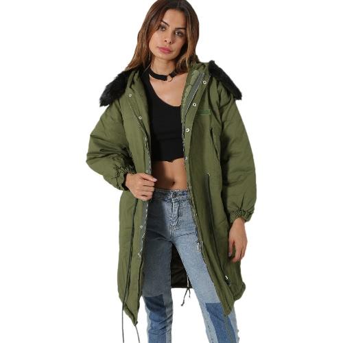 Chaqueta de invierno de las mujeres Chaqueta de abrigo caliente abrigo de manga larga con capucha Outwear negro / verde oscuro / blanco