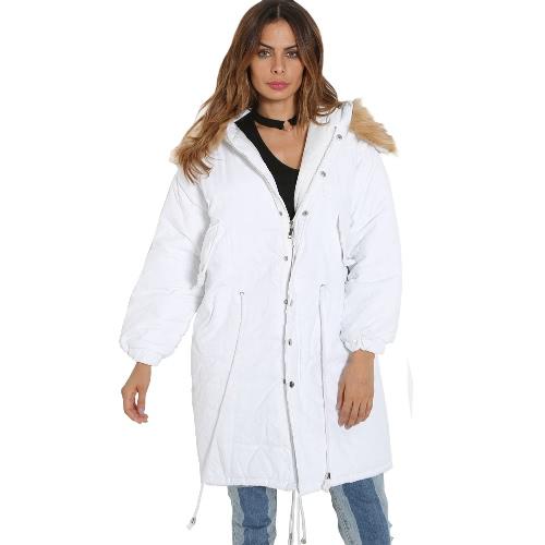 Women Winter Coat Jacket Warm Overcoat Hooded Long Sleeve Down Jacket Outwear Black/Dark Green/White
