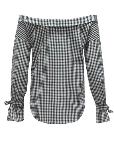 TOMTOP / Mulheres sexy Blusa xadrez Fora Ombro Irregular Hem Manga comprida Casual Elegante Top Shirt