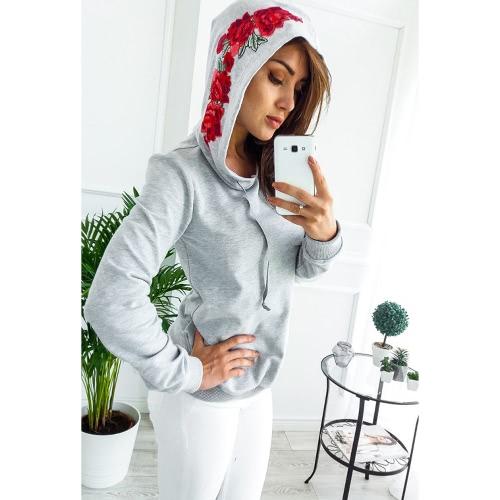 New Women Hoodies Sweatshirt Floral Bordado Casual Tracksuit Sólido Sudadera con capucha