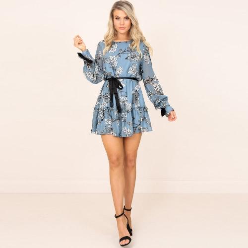 Women Mini Dress Vintage Floral Print Frill Trim Long Sleeve Belted Boho A-Line Dress Blue