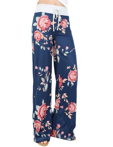 Pantaloni di lusso Boho Pantaloni Casual Boho Donna Floreale Stampa Striped Striato Bandiera Americana Pantaloni Elefanti Eleganti Pantaloni Lunga Pantaloni Lunghi